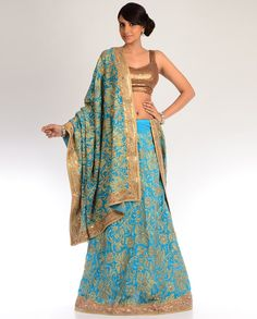 Dark Sky Blue Lengha Set with Floral Embroidery in Golden