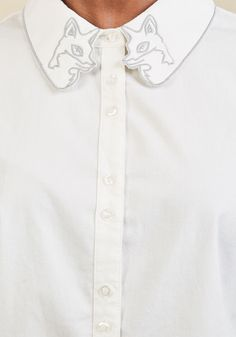 I Fox With It Button-Up Top | Mod Retro Vintage Short Sleeve Shirts | ModCloth.com  Clever, unique, and oh-so-adaptable? Why, you and this ModCloth namesake label top share the same qualities! Poshly paired buttons and an embroidered-in-grey fox collar bring high-fashion flair to this detailed white blouse, whether it's worn to the office or chicly styled for everyday adventures.