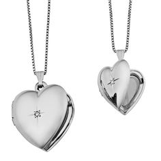 Beautifully crafted of sterling silver with diamond accent, this jewelry set includes big and small lockets that are perfect for a pair of mother and daughter.These locket necklaces exude feminine cha