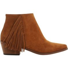 DUNE Preda fringed suede ankle boots ($150) ❤ liked on Polyvore featuring shoes, boots, ankle booties, short boots, pointed toe ankle boots, suede bootie, fringe bootie and fringe ankle booties