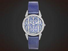 Cuervo y Sobrinos Historiador Lady. Diamonds & sapphires. #watch Watches, Crocodile, Sapphire, Gems, Pearls, Crystals, Diamond, Lady, Accessories