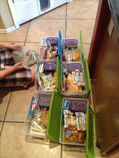 Road trip snack packs: great idea, box per day! Not sure how to work that for cold items though.