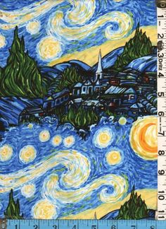 Starry Night, Fabric- started w/this covering a boring beige tackboard. Love the print & can use my green things, too.
