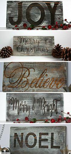 Gorgeous Farmhouse Style Wooden Christmas Signs #christmas #ad #signs #farmhouse #fixerupper #joy #noel #believe