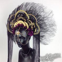 Goddess Headdress // Miss G Designs Rare Clothing, Floral Headdress, High Fashion Makeup, Cosplay, Tiaras And Crowns, Headgear, Hair Pieces, Wearable Art, Fascinator