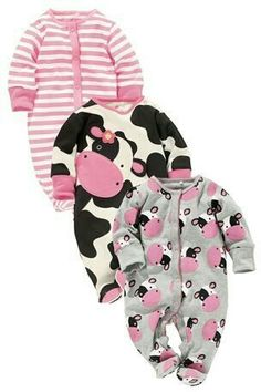 and baby girl How to Create a Safe Sleep Environment For Baby Cow Character Sleepsuits Three Pack (NEXT USA) Baby Outfits, Outfits Niños, Kids Outfits, Little Babies, Cute Babies, Little Girls, Baby Kind, My Baby Girl, Baby Girl Fashion