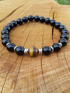 Mens Bracelet, Men Black Onyx Tiger Eye Bracelet, Gemstones Bracelet, Protection bracelet, Gift For Him, Yoga Meditation Wrist Mala - pinned by pin4etsy.com