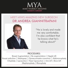 Meet MYA's amazing new surgeon Dr Andrea Giannitrapani   #MYA #Surgeon #CosmeticSurgery