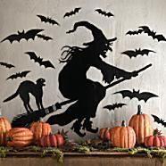 Suzie: Miscellaneous - Martha Stewart Halloween Silhouettes - Witch and Bat Silhouettes - Grandin Road - halloween, decor, decorations