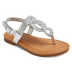 Toddler Girls' Liddie Braided Thong Sandals Cat & Jack - Silver 6, Toddler Girl's