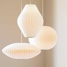 The Bubble lamp was designed by George Nelson in 1947 as an innovative alternative to pendant lighting. Part of the permanent collection of the Museum of Modern Art in New York, this elegant mid-century pendant has stood the test the time, with a translucent shell wrapped around a modern wire frame.