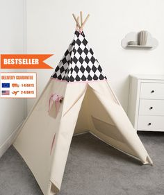 children teepee tent, kids play tent, tipi, teepee tent, indian wigwam Black Diamond by cozydots on Etsy Kids Tents, Teepee Kids, Teepee Tent, Camping Near Me, Black Diamond, Bald Eagle, Toddler Bed, Indian, Play