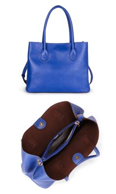 Cobalt pebbled shoulder bag with roomy interior, top handles, removable cross body strap, top snap closure and inside pouch