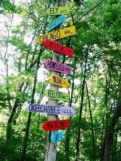 Directional sign posts for the garden