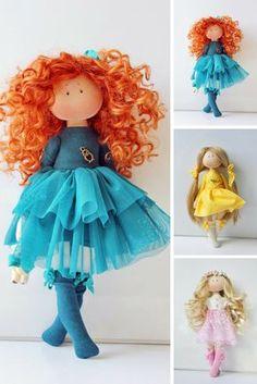 Bambole Handmade doll Soft doll Textile doll Puppen Rag doll Interior doll Art doll Cloth doll Blue doll Tilda doll Fabric doll by Olesya N