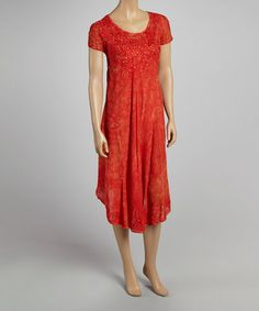 Look what I found on #zulily! Red Shimmer Scoop Neck Dress by Advance Apparels #zulilyfinds