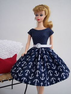 Handmade Vintage Barbie Doll Clothes by Brenda ~ Blue Nautical Anchor Dress #DollClothingAccessories