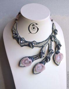 Aquarell - серебрянный,розовый,розовый кварц,роза,цветы,колье,Кристаллы swarovski
