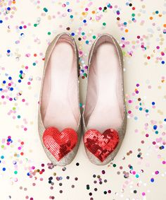 Sparkle Gold Flats with sequin heart shoe clip