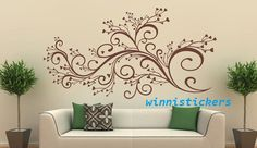 Vinyl Wall Decal Nature Design Tree Wall Decals Wall stickers Nursery wall decal wall art------beautiful flower. $45.00, via Etsy.