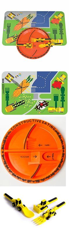 Feeding Sets 117386 Constructive Eating Construction Plate With 3 Pc Utensil Set Plate And Placemat & Feeding Sets 117386: Construction Utensil Set With Construction ...