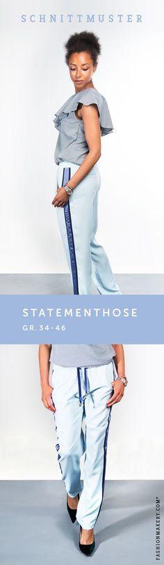 SCHNITTMUSTER Statementhose // Die Hose hat einen lockeren und legeren Schnitt. Die seitlichen Statementstreifen in Kombination mit einer leichten Überlänge, strecken die Beine optisch in die Länge. Eine Paspeltasche ziert das hintere obere Hosenbein. Geschlossen wird die Hose mit einem Gummizug und Kordel.