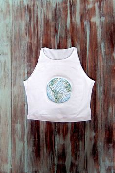 Embroidered Earth Crop Top-White Yoga Top-Boho by ZellyaDesigns