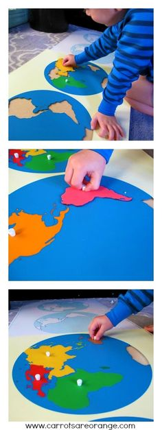 Teaching Geography to Preschoolers - Carrots Are Orange {a Montessori geography materials giveaway)