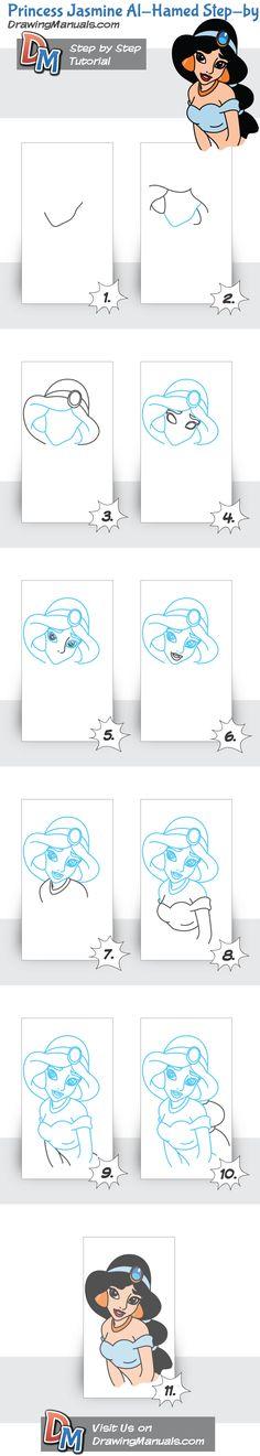 Princess+Jasmine+Al-Hamed+Step-by-Step+Drawing+Lesson