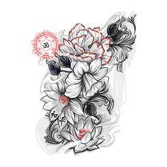 Floral Outline Tattoo ARt