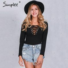 90cb8b852 Simplee Cross lace up jumpsuit romper women Sexy v neck bandage bodysuit  overalls Autumn winter knitted