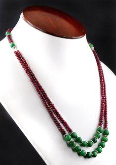 Two Row Ruby And Emerald Necklace - Free Dangler #jewelry #necklace @EtsyMktgTool #diamondnecklace #beadswholesale #largediamonds
