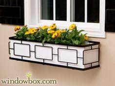 The Contemporary Window Box Cage (Square Design) - Wrought Iron Window Boxes - Window Boxes - Windowbox.com