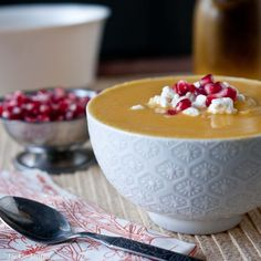 Butternut Bisque pomegranate Goat Cheese