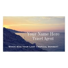 Beach Sunset Photograph Travel Agent Business Cards. Customize.  #businesscards