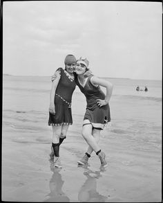 Bathing girls at Revere Beach, Boston, 1920s