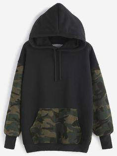 Kapuzensweatshirt kontrast Camo Druck mit Tunnelzug und Taschen-schwarz
