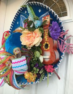 Fiesta Sombrero Wreath Fiesta Wreath Cinco de by ShesCraftyTooTx