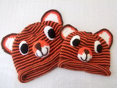 Tiger Hat Knitting Tiger Hatfather and son by myknittingworld, $50.00