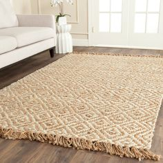 Safavieh Casual Natural Fiber Hand-Woven Sisal Style Natural / Ivory Jute Rug (6' x 9') (NF450A-6), Size 6' x 9'