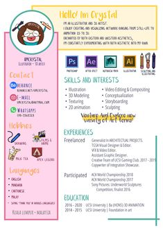 Creative Resume / CV and Personal Presentation. Illustrator and Artist Infographic Resume. Graphic Design Resume, Cv Design, Text Design, Personal Branding, Personal Resume, Artist Cv, Artist Resume, Creative Cv, Creative Resume Design