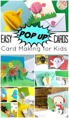 Red Ted Art's Easy Pop Up Card How To Projects. Do you (or your kids! Teehee!) LOVE making cards? Add an extra dynamic to your homemade cards and turn them into POP UP cards.. oh what a little extra paper can do to transform your Card Making DIYs.... These are simple and easy cards for kids to make and you to enjoy! Love.