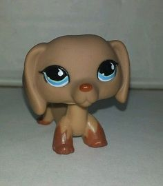 Littlest Pet Shop Dachshund Brown Tan Blue Eyes #1211 Preowned LPS