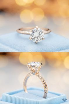 This moissanite engagement ring packs a whole lot of sparkle. It has a knife edge band, which allows two sparkling lines of moissanite on the angled sides while keeping the look quite light. The center stone is a bright, beautiful round moissanite set in 6 prongs, shaped to accent the modern styling. Classic Engagement Rings, Moissanite Rings, Ring Designs, Halo, Sparkle, Wedding Rings, Bright, Stone, Modern