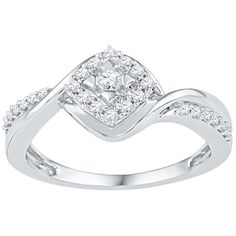 1/4 ct. tw. Diamond Promise Ring in Sterling Silver ($248) ❤ liked on Polyvore featuring jewelry, rings, white, band jewelry, diamond rings, sterling silver jewellery, diamond jewellery and white diamond ring