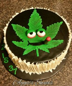 Marijuana leaf birthday cake