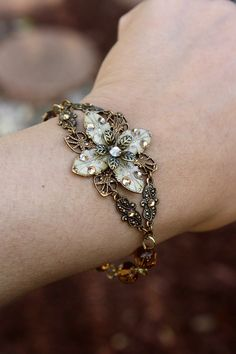 Ivory flower bracelet weddings jewelry bridal jewelry by AmberSky, $67.50