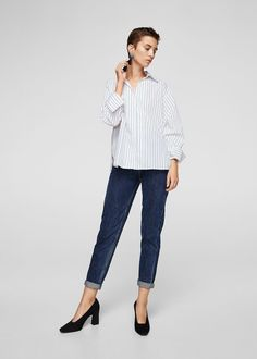 Discover the latest trends in Mango fashion, footwear and accessories. Shop the best outfits for this season at our online store. Shirt Blouses, Shirts, Mango Fashion, Stripe Print, Shirt Outfit, Latest Fashion Trends, Blouses For Women, Cotton Fabric, Cool Outfits