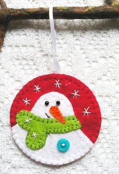 Christmas tree ornaments felt snowman home decor felt by feltgofen. Felt Christmas Decorations, Felt Christmas Ornaments, Christmas Art, Handmade Christmas, Christmas Ideas, Felt Snowman, Snowman Tree, Snowmen, Felt Crafts