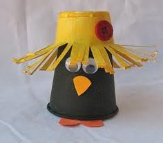 black crow made from a black cup for the body and a yellow cup for the hat.  I LOVE IT!